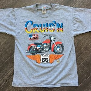 4th of July Vintage 1996 Route 66 Motorcycle Shirt
